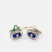 LANVIN經典LOGO金屬袖扣(藍銀色)880062-03