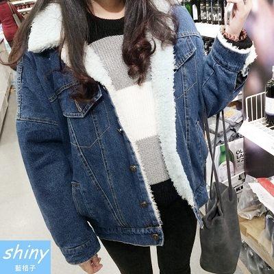 【V1389】shiny藍格子-冬搭暖心.百搭羊羔毛翻領加絨長袖牛仔外套