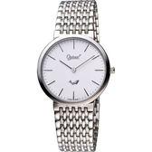Ogival 愛其華 薄型簡約風格腕錶-白/銀 385-021M