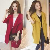 新品春秋季新款韓版風衣女裝中長款薄短款小個子外衣外套大衣寬松3色可選