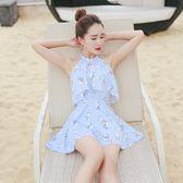 裙式連體泳衣女保守學生韓國小清新遮肚大小胸聚攏韓國泳裝女