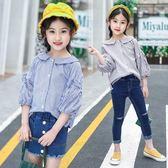 新年好禮 女童襯衫2018新款6中大兒童7韓版時尚8娃娃領9燈籠袖純棉條紋上衣