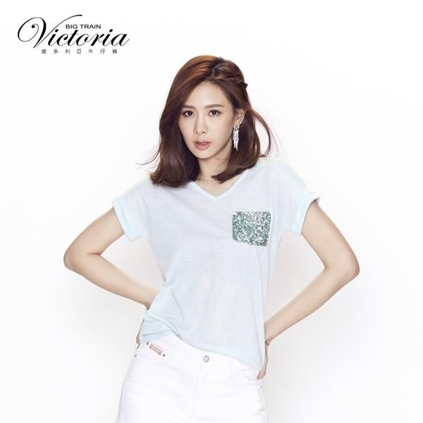 Victoria 異材質拼接落肩短袖T-女