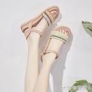 高跟涼鞋 新款夏季一字扣涼鞋女仙女風平底學生厚底羅馬沙灘溫柔鞋 618大促銷