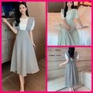 兩件式吊帶裙 韓系夏季收腰顯瘦氣質泡泡袖上衣 格子吊帶裙 兩件套 共2色 M-XL依二衣