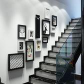 現代簡約樓梯照片墻組合相框墻復式公寓相片墻大墻面WL3086【衣好月圓】TW