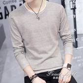 長袖t恤韓版圓領上衣男裝長袖T恤毛衣針織打底衫大碼衣服潮 果果輕時尚