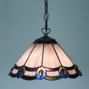設計師美術精品館簡歐蒂凡尼燈仿古吊燈西部酒吧咖啡廳餐吊燈簡約孔雀開屏燈飾燈具