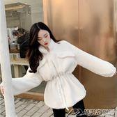 秋冬季新款氣質純色立領收腰中長款仿羊羔毛拉鏈外套大衣女裝  潮流前線