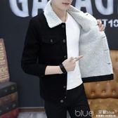 冬季牛仔外套男加絨韓版修身羊羔毛黑色棉衣棉服上衣男裝加厚夾克 深藏blue