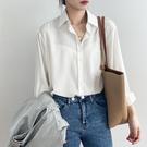白色襯衫女設計感小眾2021春夏新款韓版chic垂感緞面天絲長袖襯衣 設計師