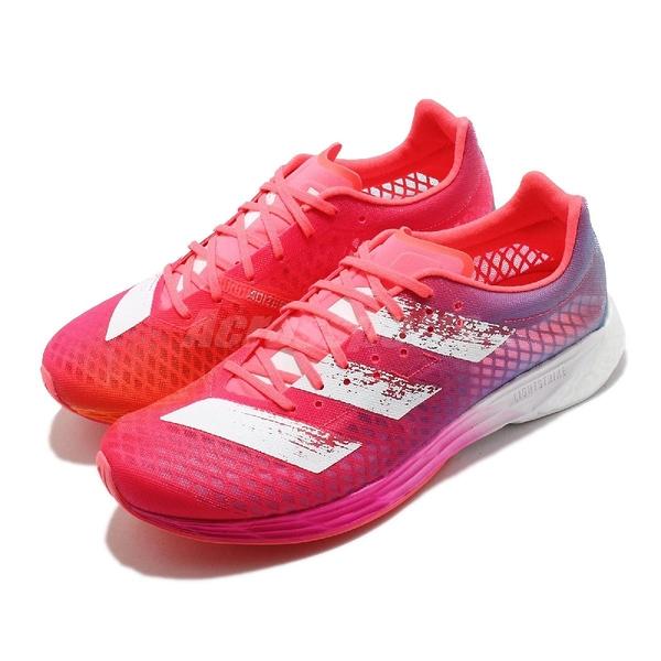 adidas 慢跑鞋 Adizero Pro W 粉 紅 白 女鞋 BOOST中底 超輕彈力避震 運動鞋 【ACS】 FW9255