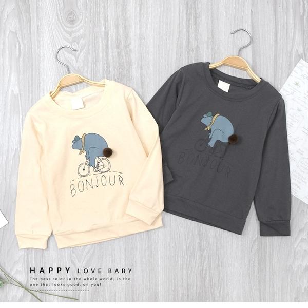 灰色 純棉 北歐插畫帽熊腳踏車大學T 上衣 長袖 薄款 清新 童裝 女童裝 男童裝