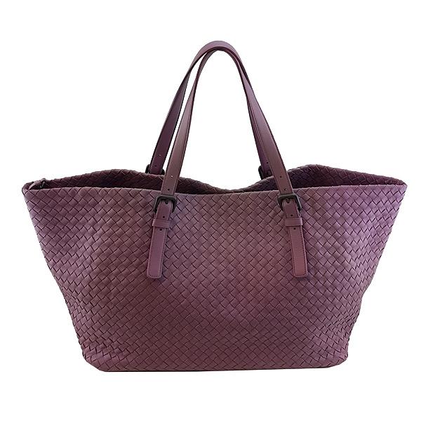 【奢華時尚】BOTTEGA VENETA 薰衣紫色編織羊皮肩背大托特包(九五成新)#24434