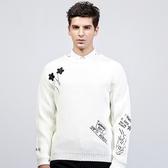 針織毛衣 長袖-簡約刺繡休閒圓領男針織衫2色73ik85【時尚巴黎】