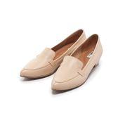 【Fair Lady】Soft芯太軟 質感皮革尖頭樂福低跟鞋 卡其
