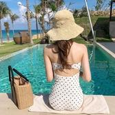 泳衣韓版新款小胸聚攏三角泳裝 保守遮肚修身顯瘦復古波點連身泳衣女 玩趣3C