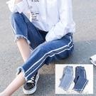 青少女春夏裝鬆緊腰牛仔九分長褲初中學生韓版寬鬆直筒闊腿褲大童 依凡卡時尚