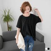 OB嚴選《AA9442-》竹節棉素色立體橫條壓紋圓領寬鬆短袖上衣.2色--適 M~XL