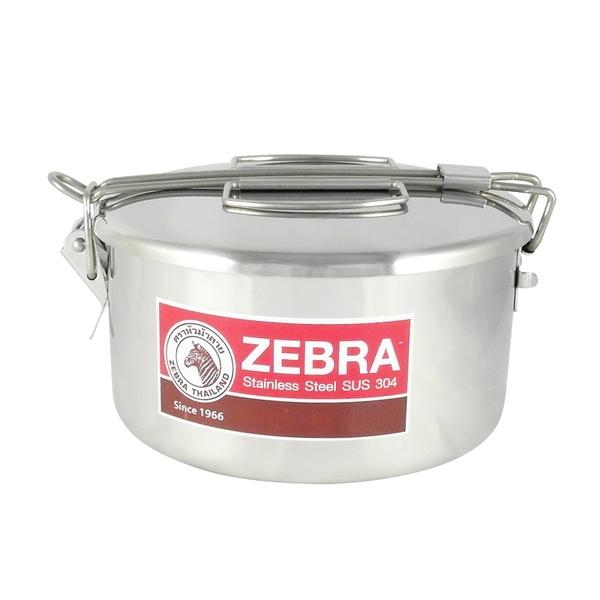 ZEBRA斑馬牌不鏽鋼雙層兩用圓型便當盒12cm附菜盆飯盒外蓋卡榫提把設計-大廚師百貨