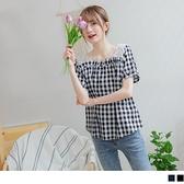 《AB13301-》甜美微日系蕾絲雕花拼接方領格紋上衣 OB嚴選