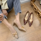 大尺碼真皮女鞋34-43 2021新款時尚百搭頭層牛皮馬銜扣小方頭中跟鞋 OL工作鞋 通勤鞋 ~2色