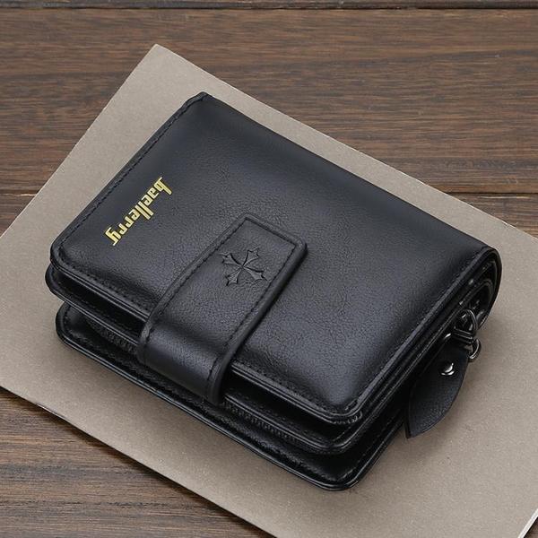 新款錢包男士短款多卡位豎款拉鏈搭扣零錢包多功能卡包日韓錢夾 依凡卡時尚