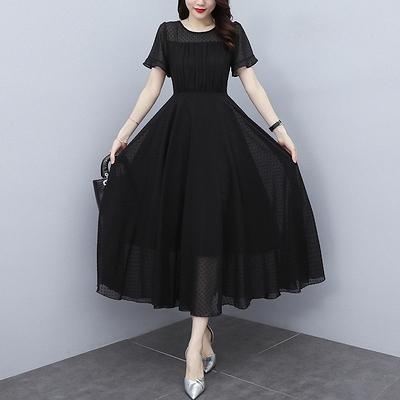 雪紡長洋裝M-3XL連身裙女新款夏天洋氣減齡時尚溫柔氣質高級感雪紡長款裙子NB13依佳衣