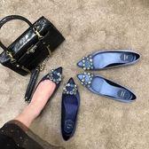 低跟鞋女夏尖頭平底低跟淺口雪花扣綢緞水鑽方扣單鞋女伴娘鞋瓢鞋 法布蕾輕時尚