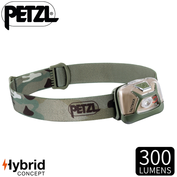 【PETZL 法國 TACTIKKA頭燈《迷彩》】E093HA01/300流明/頭燈/登山露營/手電筒/緊急照明