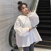 甜颯女孩襯衣海軍領燈籠袖襯衫女2021年新款夏韓版復古娃娃衫上衣 【端午節特惠】