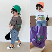 男童秋裝T恤兒童恐龍印花套頭打底衫寶寶洋氣圓領長袖衫潮