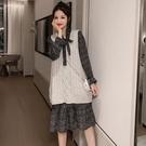 漂亮小媽咪 韓系 兩件式 洋裝【DS9832】格紋 超質感 背心 馬甲 毛衣 長袖 洋裝 孕婦裝 魚尾裙