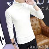 秋冬季高領毛衣男士線衫韓版修身白色打底針織衫純色潮流男裝衣服     MOON衣櫥