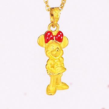 迪士尼金飾-米奇黃金墜子-俏麗米妮墜(加贈金色鋼鍊)