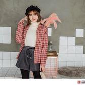 ~AB5277 ~高含棉配色格紋寬鬆襯衫OB