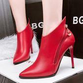 踝靴女 細跟靴 歐美性感尖頭馬丁靴細跟高跟踝靴秋冬新款女靴英倫短靴高跟靴子《小師妹》sm3138