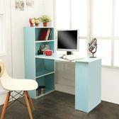 低甲醛機能簡約雙向書櫃書桌(藍色)