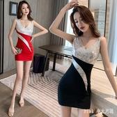 亮片禮服性感修身顯瘦夜店低胸氣質女深V領包臀連身裙 KP1441【甜心小妮童裝】