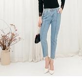 高含棉褲管抽鬚中縫線直筒牛仔褲--適 2L~6L OrangeBear《BA2488》