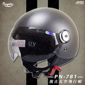 [中壢安信]Penguin海鳥牌 PN-781 PN781 消光灰 雙透明中條線 半罩 安全帽 Vespa Gogoro
