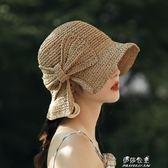 小沿草帽女夏天簡約蝴蝶結休閒盆帽漁夫帽逛街出游鉤針遮陽太陽帽 伊莎公主