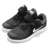 Nike 慢跑鞋 Revolution 4 TDV 黑 白 魔鬼氈 運動鞋 黑白 童鞋 小童鞋【PUMP306】 943304-006