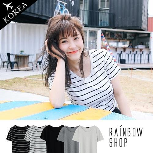 正韓-經典百搭坑條上衣-M-Rainbow【A656510】