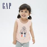 Gap女幼童 布萊納系列 純棉印花無袖T恤 689336-淡粉色