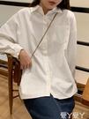 長袖襯衫 白色寬鬆長袖襯衫女秋外穿百搭復古港味棉麻設計感小眾白襯衣上衣 愛丫 新品
