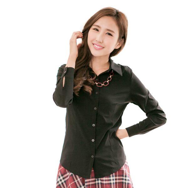 襯衫--百搭實款-素面公主線設計長袖襯衫(白.黑.灰M-4L)-I161眼圈熊中大尺碼