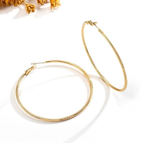 防抗過敏 細版波浪壓紋 單圈超大耳圈耳環-金