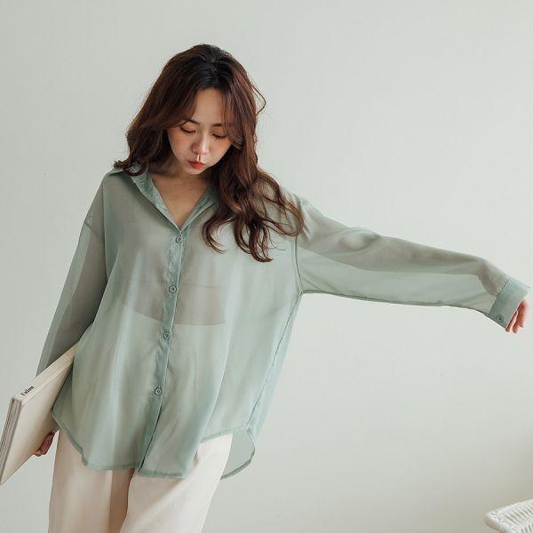 MIUSTAR 透膚薄紗後開衩綁帶珠光雪紡襯衫(共5色)【NH1693】預購