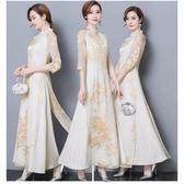 2019新款中國風氣質女裝中式修身改良旗袍復古奧黛上衣茶服連衣裙